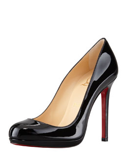 Christian Louboutin Neofilo Patent Round-Toe Red Sole Pump, Black