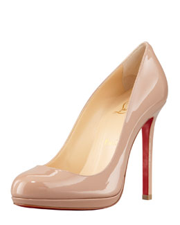 Christian Louboutin Neofilo Patent Round-Toe Red Sole Pump, Nude