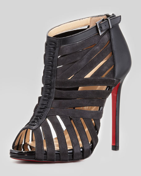 christian louboutin mens spiked loafers - Christian Louboutin Karina Caged Red-Sole Ankle Bootie, Black
