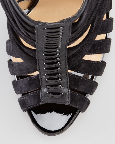 Karina Caged Red-Sole Ankle Bootie, Black