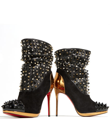 buy popular e712a 834ad Spike Wars Red Sole Ankle Bootie Version Black