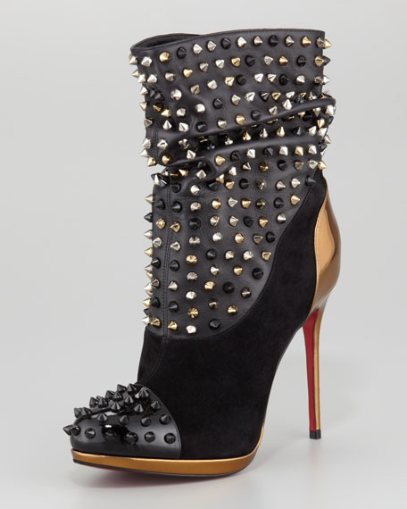 Spike Wars Red Sole Ankle Bootie, Version Black