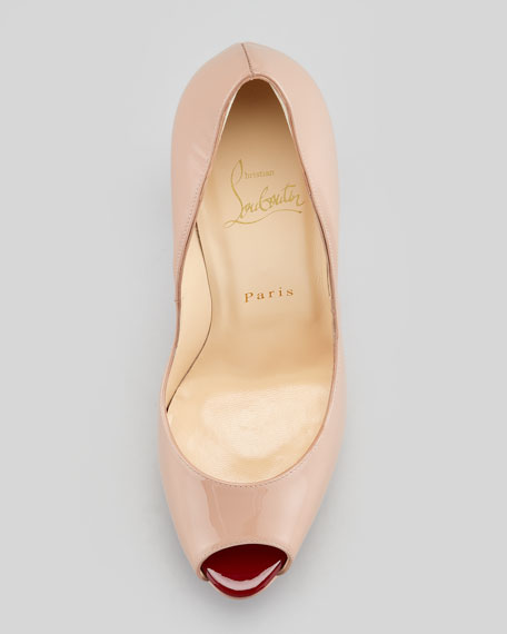 Babel Patent Peep-Toe Spikes Pump, Nude/Rouge