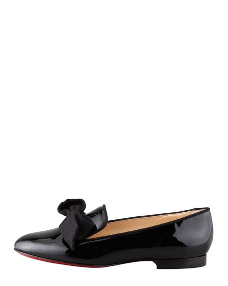 Gine Patent Leather Bow Slipper, Black