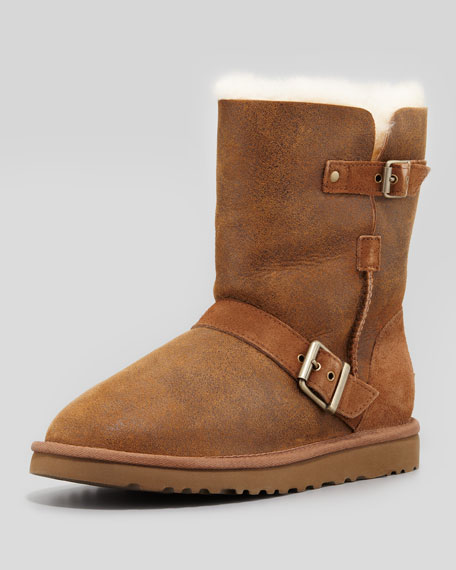 Dylan Short Shearling Boot, Chestnut
