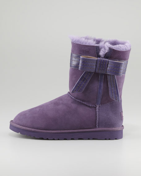 Josette Leather Bow-Band Shearling Boot, Purple