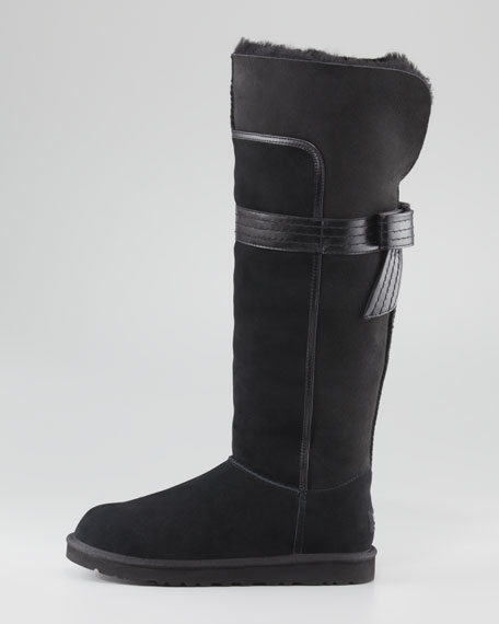 Genevieve Leather-Bow Tall Shearling Boot, Black