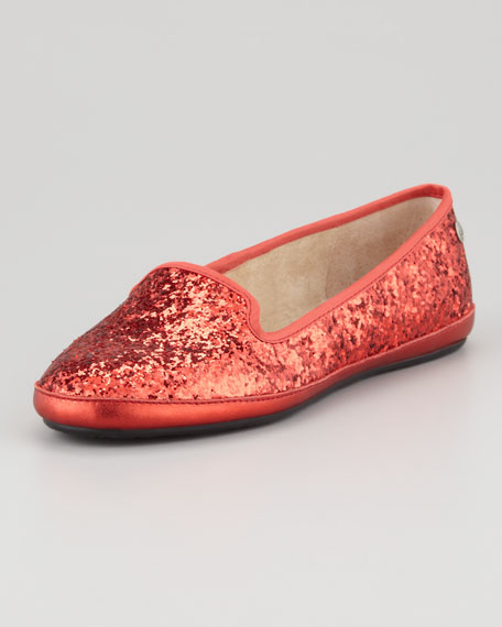 Asher -Lined Glitter Loafer, Red
