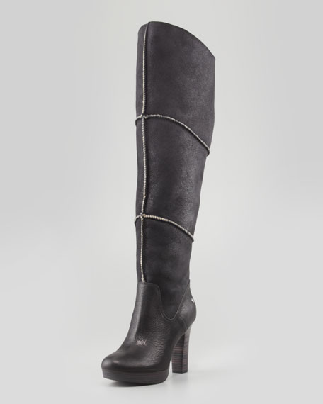 Dreaux High Heel Knee Shearling Boot, Black