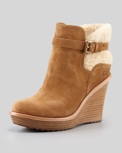 ugg australia carmine wedge boot chestnut leather