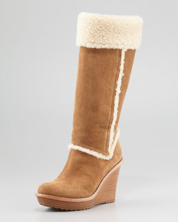 UGG Australia Aubrie Suede Wedge Knee Shearling Boot, Chestnut