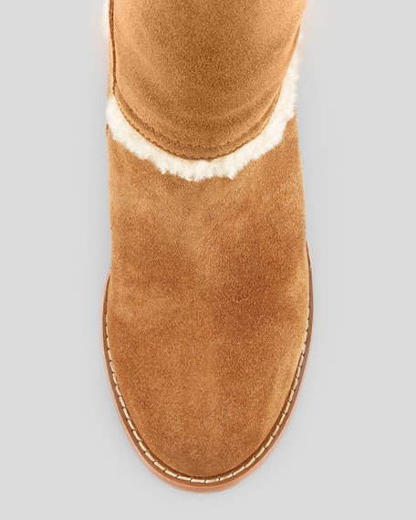 Aubrie Suede Wedge Knee Shearling Boot, Chestnut