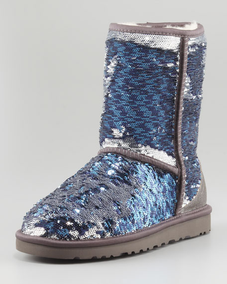 Sparkles Classic Short Shearling Boot, Midnight Multi