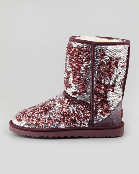 Sparkles Classic Short Shearling Boot, Sangria Multi