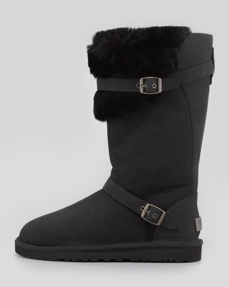 Tall Convertible Shearling Boot, Black