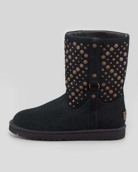 Stud-Embellished Short Shearling Boot, Black