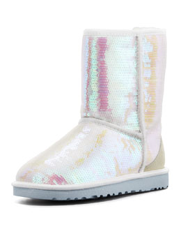 UGG Australia I Do! Sparkles Short Bridal Shearling Boot, White
