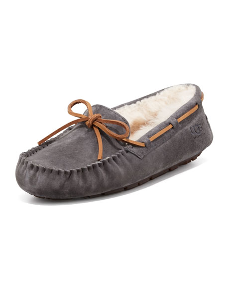 Dakota Wool-Lined Tie-Slipper, Pewter