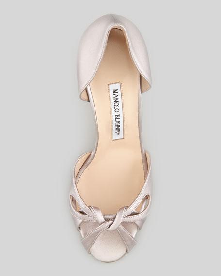 Clementina Cross-Toe Metallic d'Orsay Pump, Silver