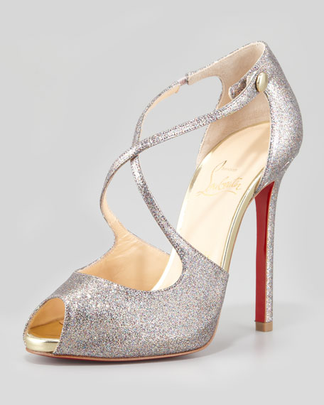 Wrap Glitter Peep-Toe Red Sole Pump