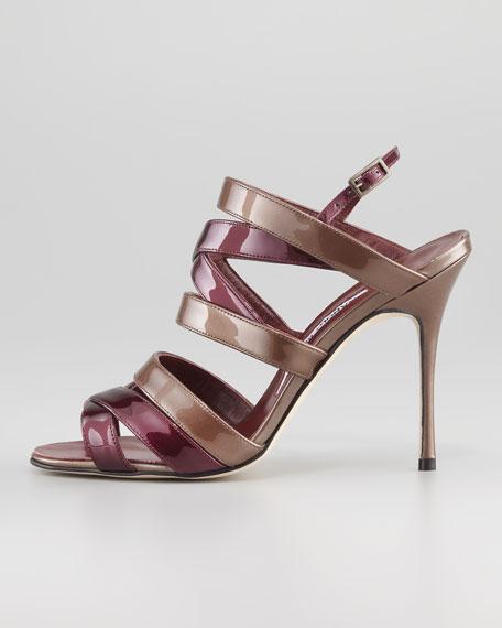 Mimkema Strappy Patent Sandal, Bordeaux/Copper