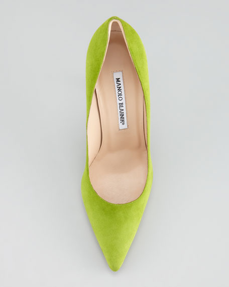 BB Suede Pointed-Toe Pump, Grass Green