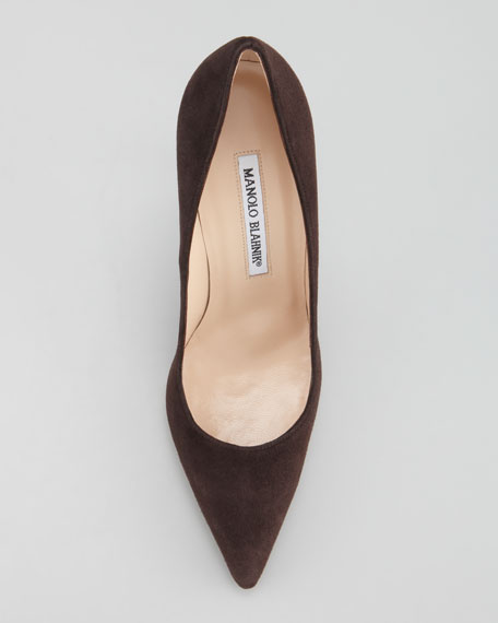 BB Suede Pointed-Toe Pump, Classic Brown