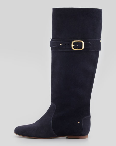 Paddington Suede Flat Knee Boot, Navy