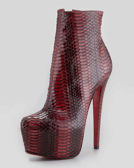 Daf Watersnake Red Sole Platform Bootie, Rouge