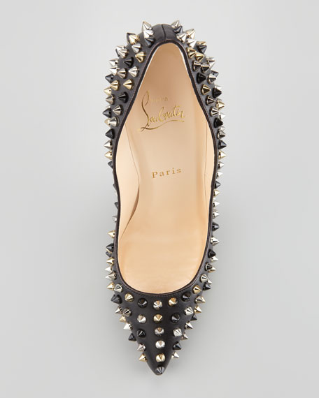 Christian Louboutin Pigalle Spikes Red Sole Pump, Black
