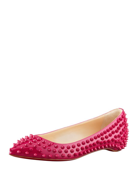 Christian Louboutin Pigalle Spikes Point-Toe Red Sole Flat, Grenadine