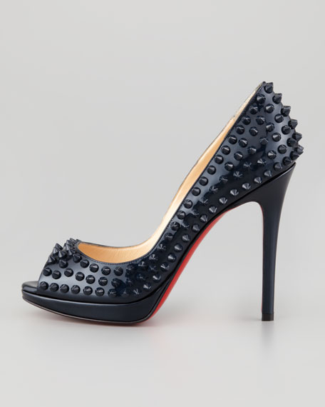 Yolanda Spikes Peep-Toe Red Sole Pump, Blue Khol