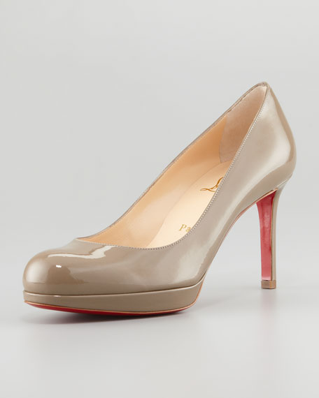 New Simple Patent Platform Red Sole Pump, Grege
