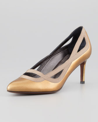 Grosgrain-Trimmed Metallic Pump, Gold