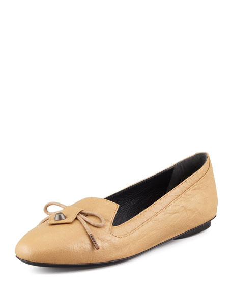 Arena Leather Smoking Slipper, Beige Nougatine