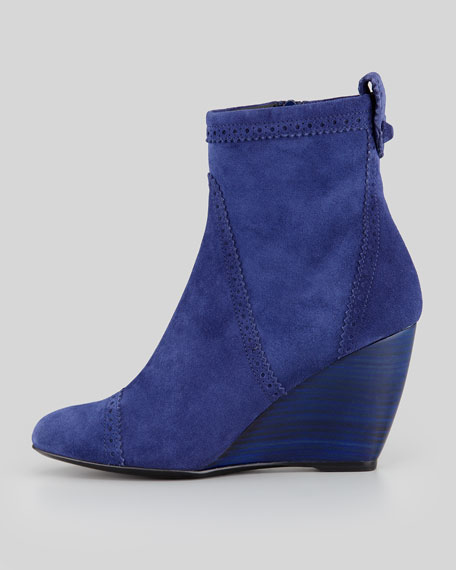Brogue Suede Wedge Ankle Boot, Blue Nuit