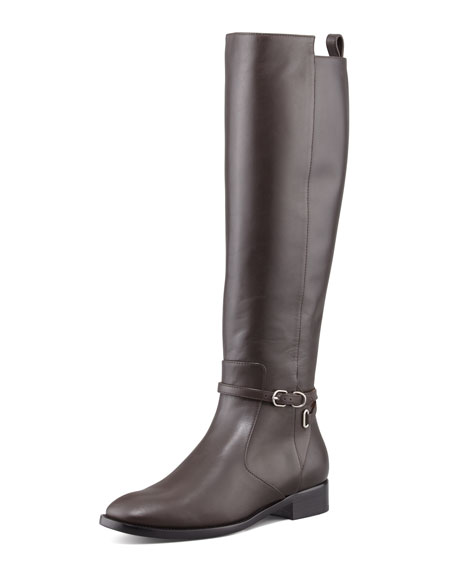 Papier Leather Buckled Knee-High Riding Boot