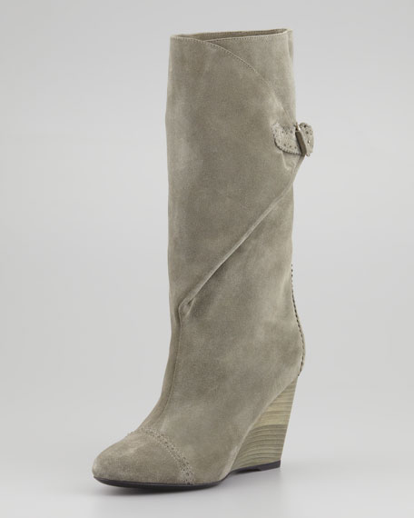 Suede Wrap Wedge Mid-Calf Boot, Gray