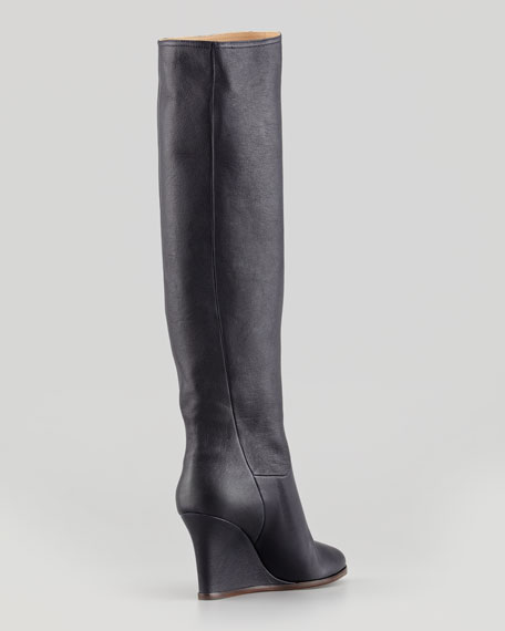 Leather Wedge Knee Boot, Midnight