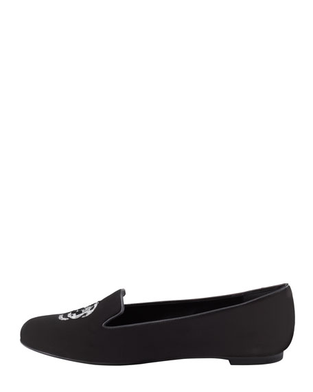 Alexander McQueen Embroidered Skull Smoking Slipper, Black