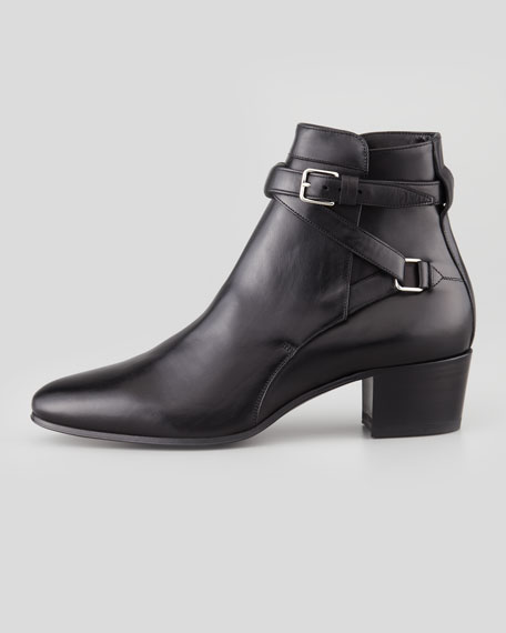 Crisscross Leather Ankle Boot, Black