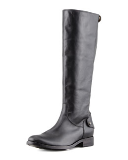 Frye Melissa Leather Back-Zip Extended Claf Boot, Black