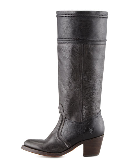 Jane Leather Extended Calf Boot, Black