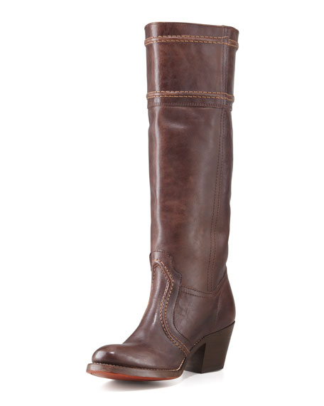 Jane Pull-On Chunky-Heel Extended Calf Boot