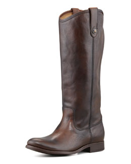 Frye Melissa Button-Pull Boot, Dark Brown