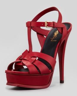 Saint Laurent Tribute High-Heel Leather Sandal, Red
