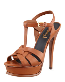 Saint Laurent New Tribute Platform Sandal, Brun