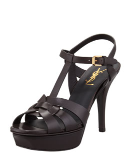 Saint Laurent Tribute Low-Heel Leather Sandal, Chocolate
