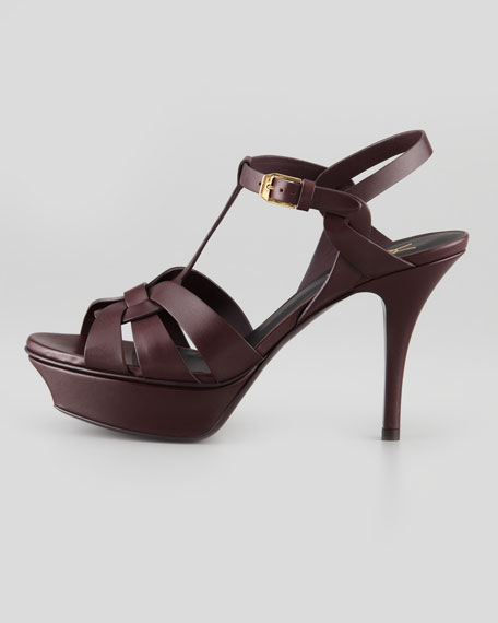 Tribute Low-Heel Leather Sandal, Dark Red