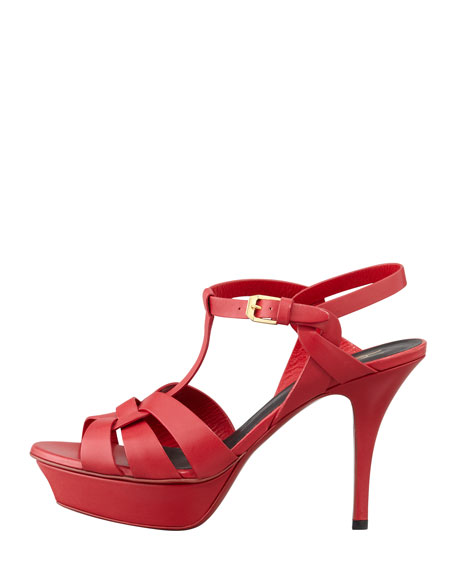 Tribute Low-Heel Leather Sandal, Rouge